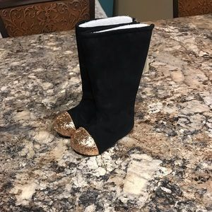 Joyfolie Black Boots with Gold Glitter Toe